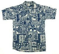 Go Barefoot Mens M Short Sleeve Button Up Floral Hawaiian Shirt Blue White EUC