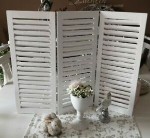 3 PC Screen Shutters Wood White Shabby Vintage landhaus Deco 60x50cm