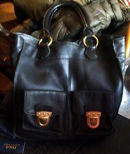 Linea Pelle $495 Large Black Mel Tote Italian Leather Bronze Hdwre Front Pockets