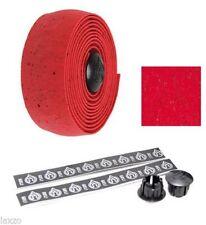 Puños y cintas rojas de corcho para manillar de bicicletas