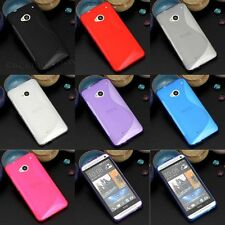 1xNew S Line Skidproof Rubber Gel skin case back cover for HTC one M7
