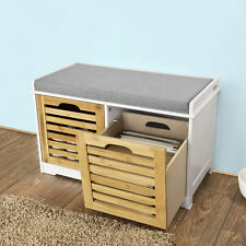 Sobuy Storage Bench with Drawers Shoe Cabinet and Seat Cushion - FSR23-K-W