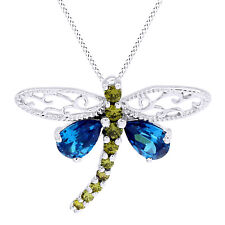 Sterling  Blue Topaz and Peridot Dragonfly Pendant Necklaces