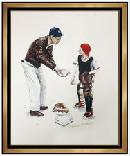 Norman Rockwell Hand Signed Color Lithograph Baseball School Days Folio Portrait