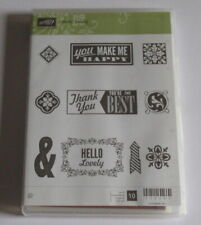 Stampin Up Foam Mounted Cling Stamp Set - Hello, Lovely - New.