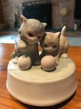 Kitten Playing Music Box Ceramic Otagiri Japan Gibson Greeting Cards EUC