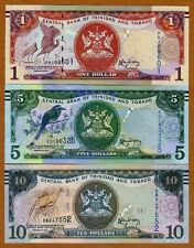 SET Trinidad and Tobago $1;5;10 2006 (2014-2015), P-New, New Sign. UNC > Braille