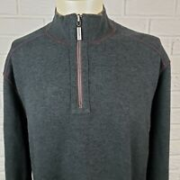 Tommy Bahama Mens XL Flip Side 1/4 Zip Pullover Reversible Grey & Brown Sweater