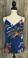 J. CREW Camisole Tank Top Size 4~ 100% Silk Multi-Color Floral Print Lined