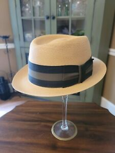 Vintage Dobbs Fifth Avenue straw hat. 7 1/8 numerous stamps inside