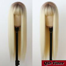 Women's Full Neat Bangs Brown Roots 613 Blonde Synthetic Hair Wigs Long Straight