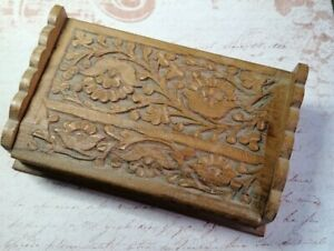 Vintage Wooden Craved Indian Style Box Jewellery