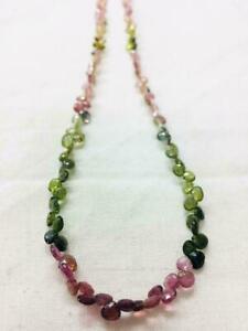 Naturale Certificato Tormalina Mandorle Collana di Perline Multicolore 40.6cm 1