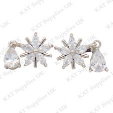 CLIP ON Earrings Crystal Silver Rhinestone Fake Studs Non Pierced Ear Round #61