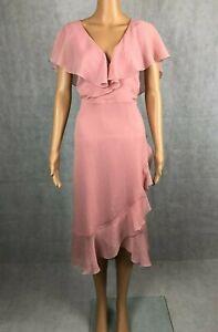 Warehouse Pastel Pink Asymmetric Hem Cruise Shift Dress UK 16 EUR 44 RRP £65