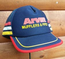 Vintage 60's Arvin Mufflers Pipes Snapback Trucker Hat Striped Auto Exhaust Cap