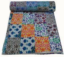 Vintage Indian Kantha Quilt Handmade Cotton Bedspread Throw Blanket Patchwork Ar