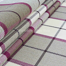 Design Hard Wearing Tartan Pattern Soft Chenille Upholstery Fabric Purple Brown