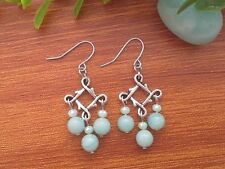 Natural Blue AMAZONITE Gemstone On Silver Tone Lucky Knot Dangle Earrings