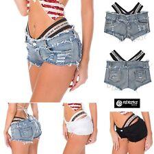 Mini Pantaloncini Jeans con Elastico Alto Donna - Woman Mini Shorts Jeans JEA017