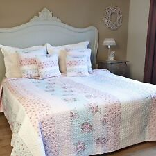 Tagesdecke 230x260 100% Baumwolle Bettüberwurf Quilt blau rosa Patchwork Plaid