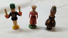 Erzgebirge hand carved painted people, 3 in total with one damaged