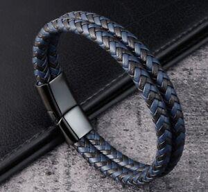 "Men / Women Black Blue Braided Genuine Leather Bracelet Double Band Bangle 6-9"""