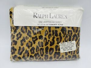Ralph Lauren Aragon Leopard Print Full Flat Sheet Medieval Home Irregular Animal