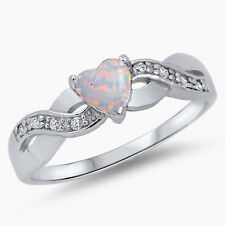 USA Seller Heart Ring Sterling Silver 925 Face Height: 5 mm White Opal Size 8