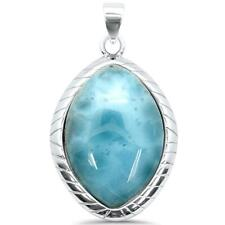 Sterling Silver Charm Pendant Natural Larimar Pear .925