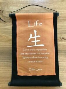 Dalai Lama Quote Cloth Scroll Wall Hanging Inspire Sign Life Love and Compassion