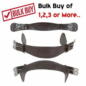 Padded Short Leather Dressage Girth With Roller Buckles Brown 16'' - Set Buy