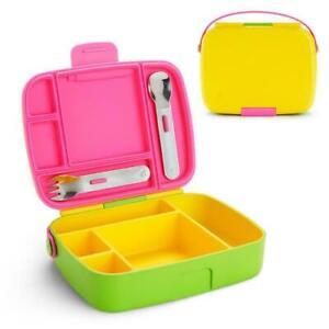 Munchkin Bento Box Multi Yellow Kid's Food Storage Prep Utensil School Lunch Box