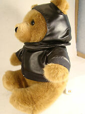 """Motorcycle Bear 9"""" Tall Brown Plush Faux Leather Zippered Jacket @1"""