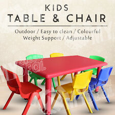 Large Outdoor Kids Preschool Play Children Activity Table 6xChairs 120cmx60cm