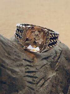 David Yurman 10 X 8MM Morganite Petite Wheaton Ring & Diamonds