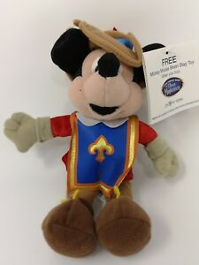 RARE PROMO DISNEY STORE MICKEY MOUSE THE THREE MUSKETEERS BEANIE PLUSH TOY