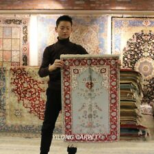 Yilong 2'x3' Handmade Silk Carpet Tapestry Hand Knotted Floral Area Rug 420M