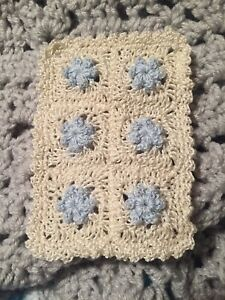 MINIATURE DOLLHOUSE DOLL BABY BLANKET Light Blue  Flowers & Ivory