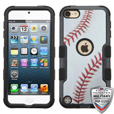 iPod Touch 5th/ 6th Gen Hybrid Tuff Case Cover Base Ball + Screen Protector