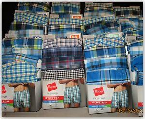 Hanes Premium STRETCH WOVEN BOXERS 4 pair soft fabric no gap fly fresh IQ