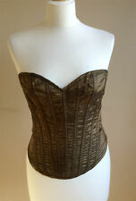 Stunning gold polyester Steampunk boned corset by Knickerbox - size L