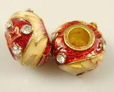 Clover Faberge Egg Bead Drip Gum Lime Clear Crystal Fit sterling 925 Bracelet @5