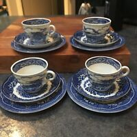 12 pieces Old castle barratts tea cups saucers plates staffordshire england Blue