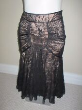 NWT BEBE SUPER SEXY BLACK PANELED LACE HIGH LOW HEM DRESSY SKIRT XS S