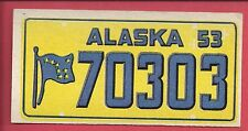 1953 TOPPS License Plate Trading Cards # 44 ALASKA