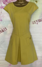 TED BAKER 'HARMIA' STRETCHY YELLOW POCKETED SKATER DRESS SIZE 4 UK 14