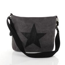 Stern Umhänge Tasche Cross Strass Bag Shopper Clutch Glitzer Canvas Stoff Grau