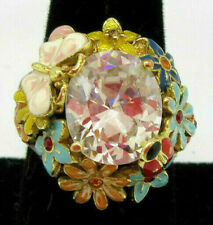 Rhinestone and Enamel Flower Ladybug Ring Size 9