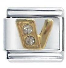 CRYSTAL LETTER V - Daisy Charms by JSC Fits Classic Size Italian Charm Bracelet